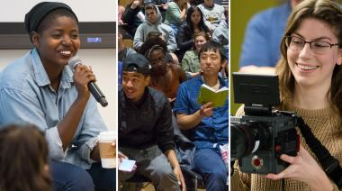Cinema Studies speaker, students, and woman with camera