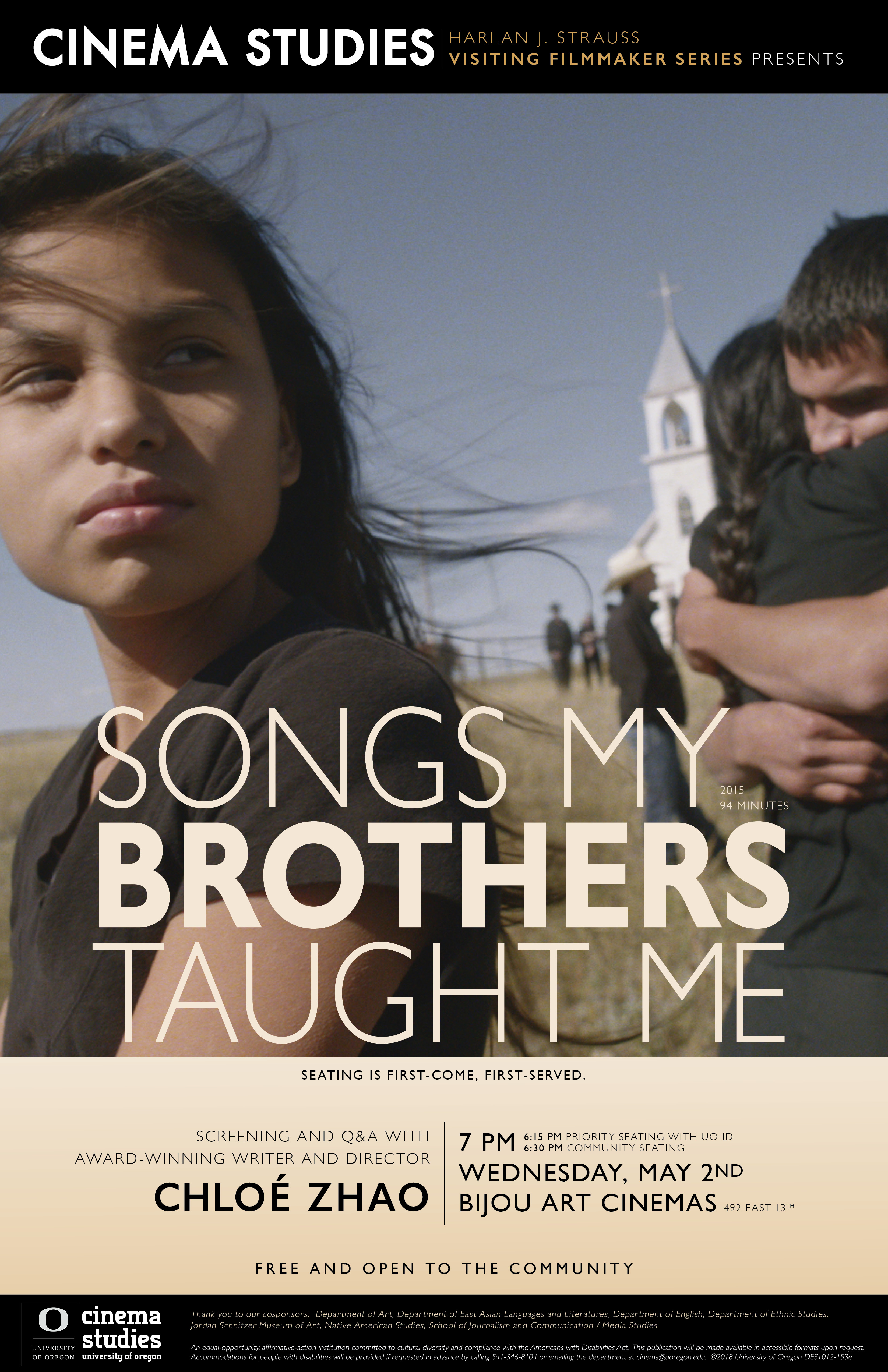 Cinema Studies Poster for Screening of Songs My Brothers Taught Me