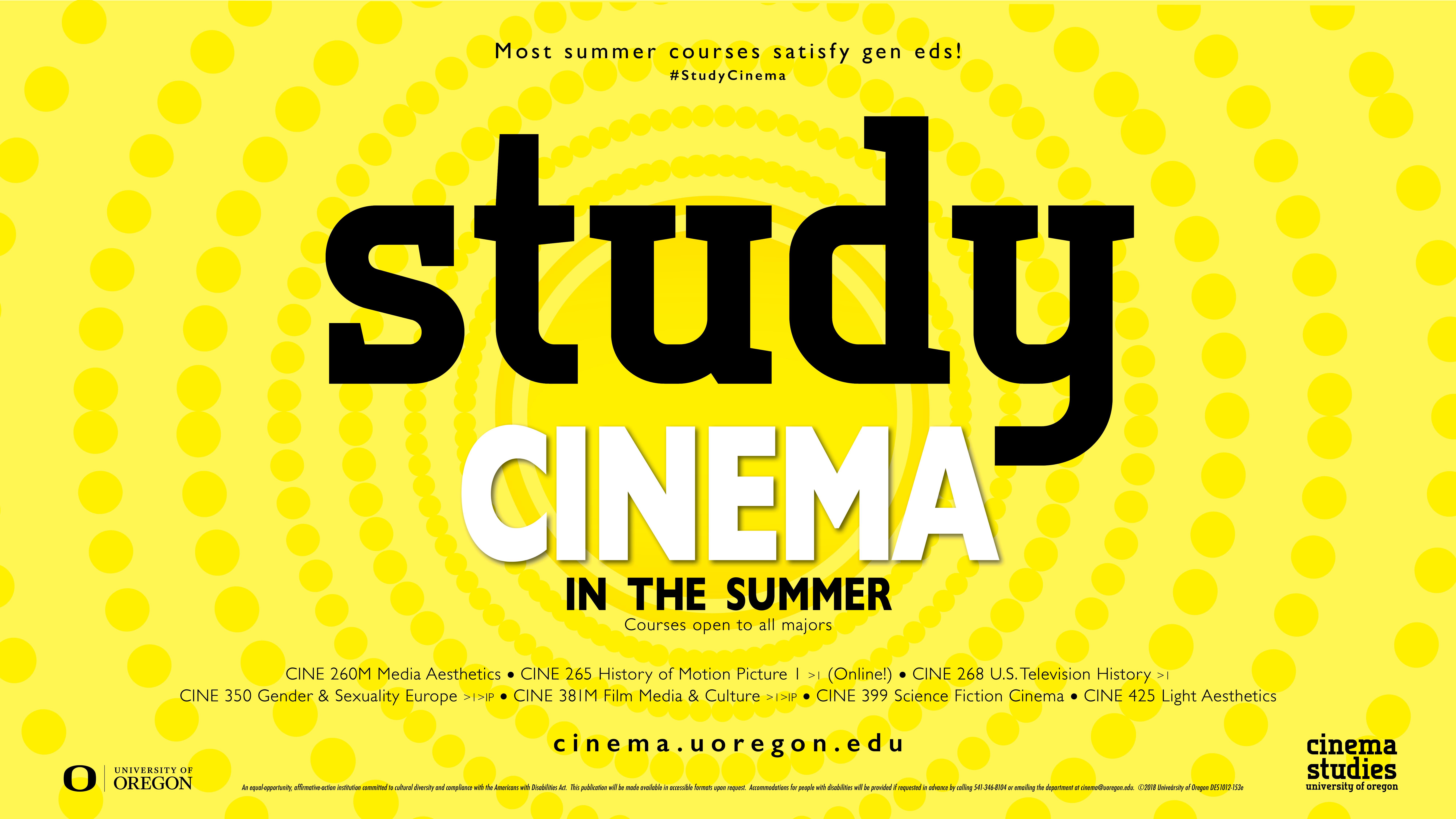 Cinema Studies Summer 2018 Course Poster
