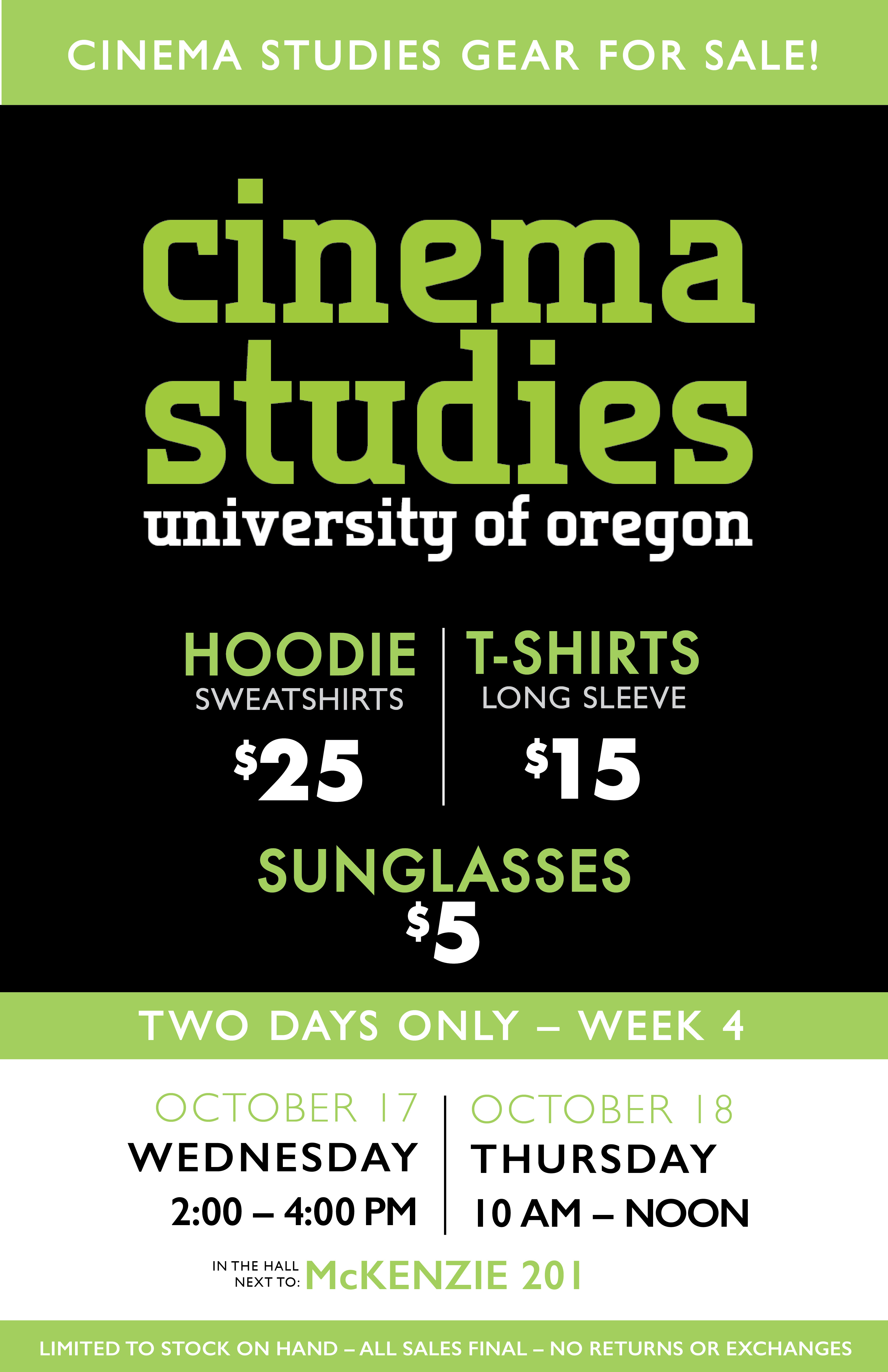 Cinema Studies Swag Sale Poster
