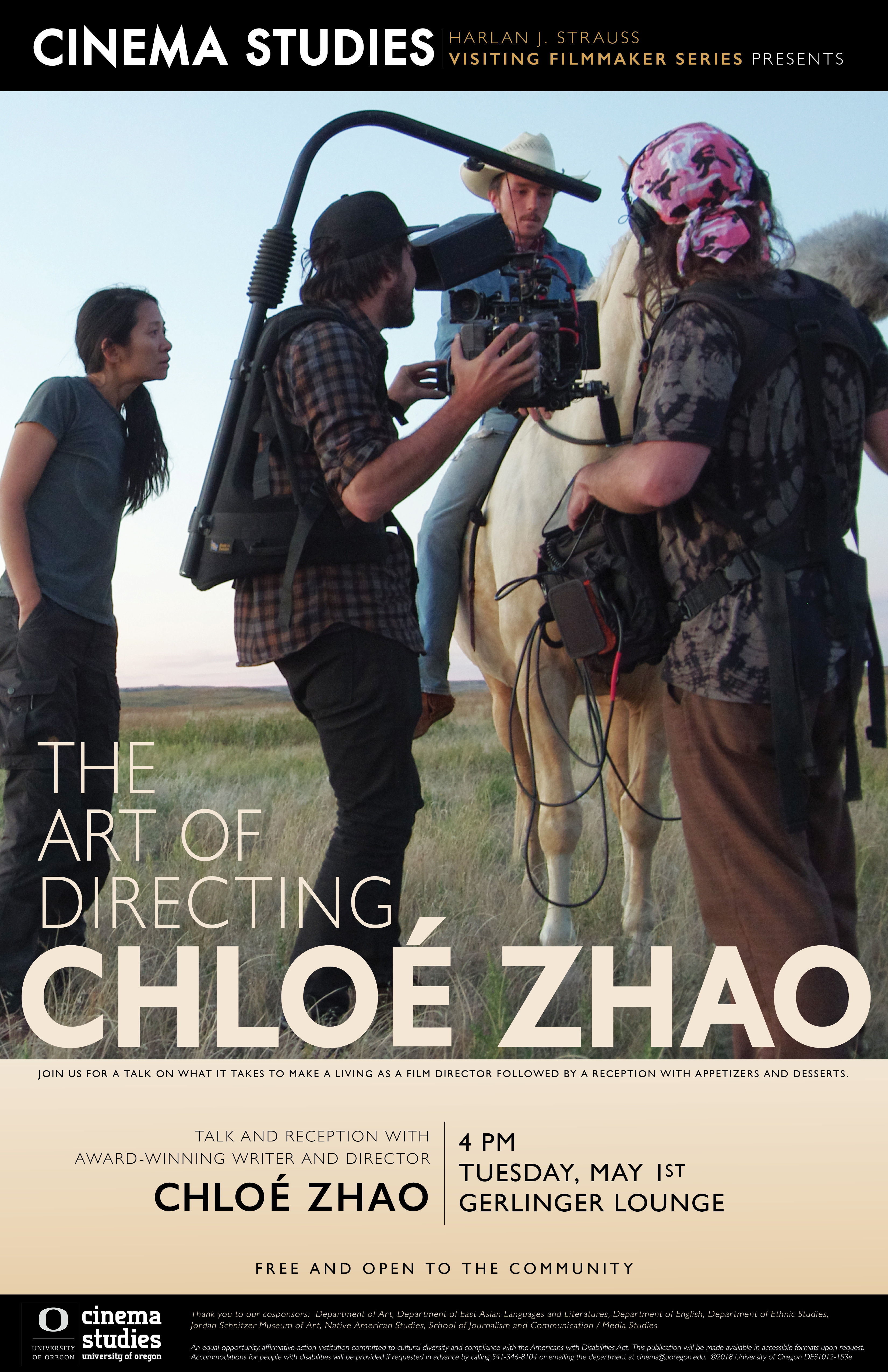 Cinema Studies Poster for The Art of Directing Talk with Chloe Zhao