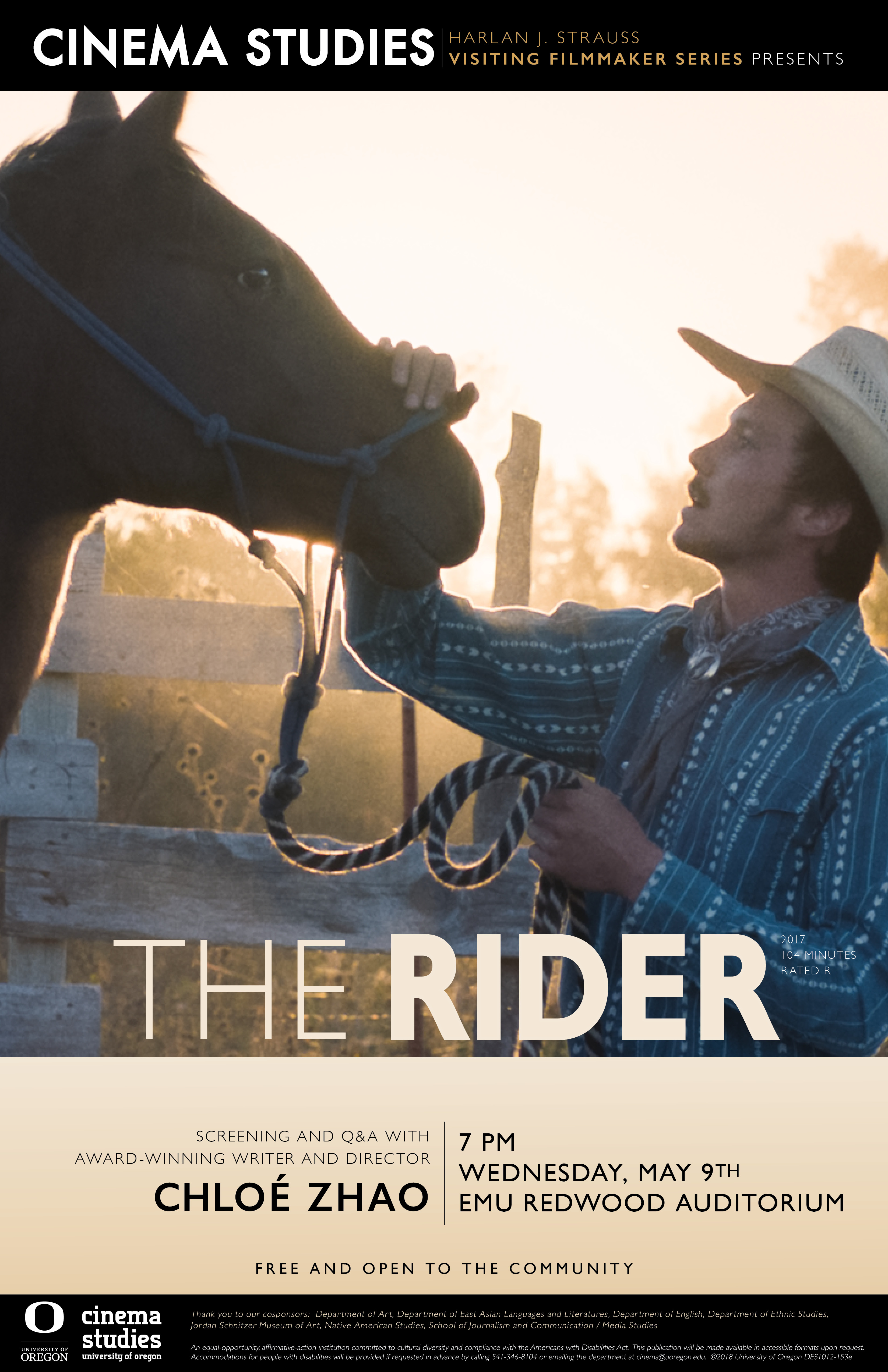 Cinema Studies Poster for Screening of The Rider