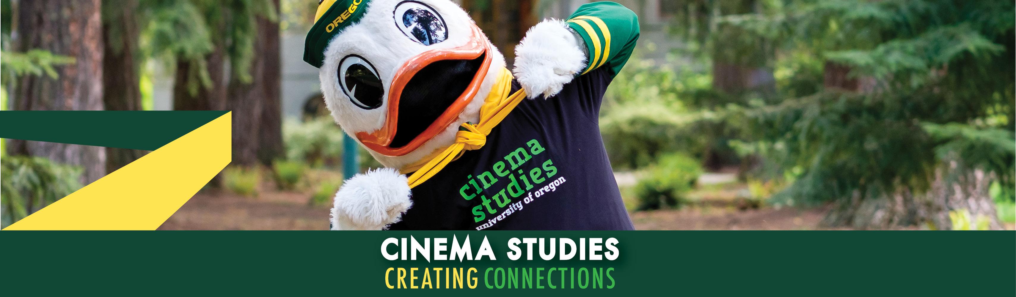 Photo of UO Duck Mascot in Cinema Studies T-shirt