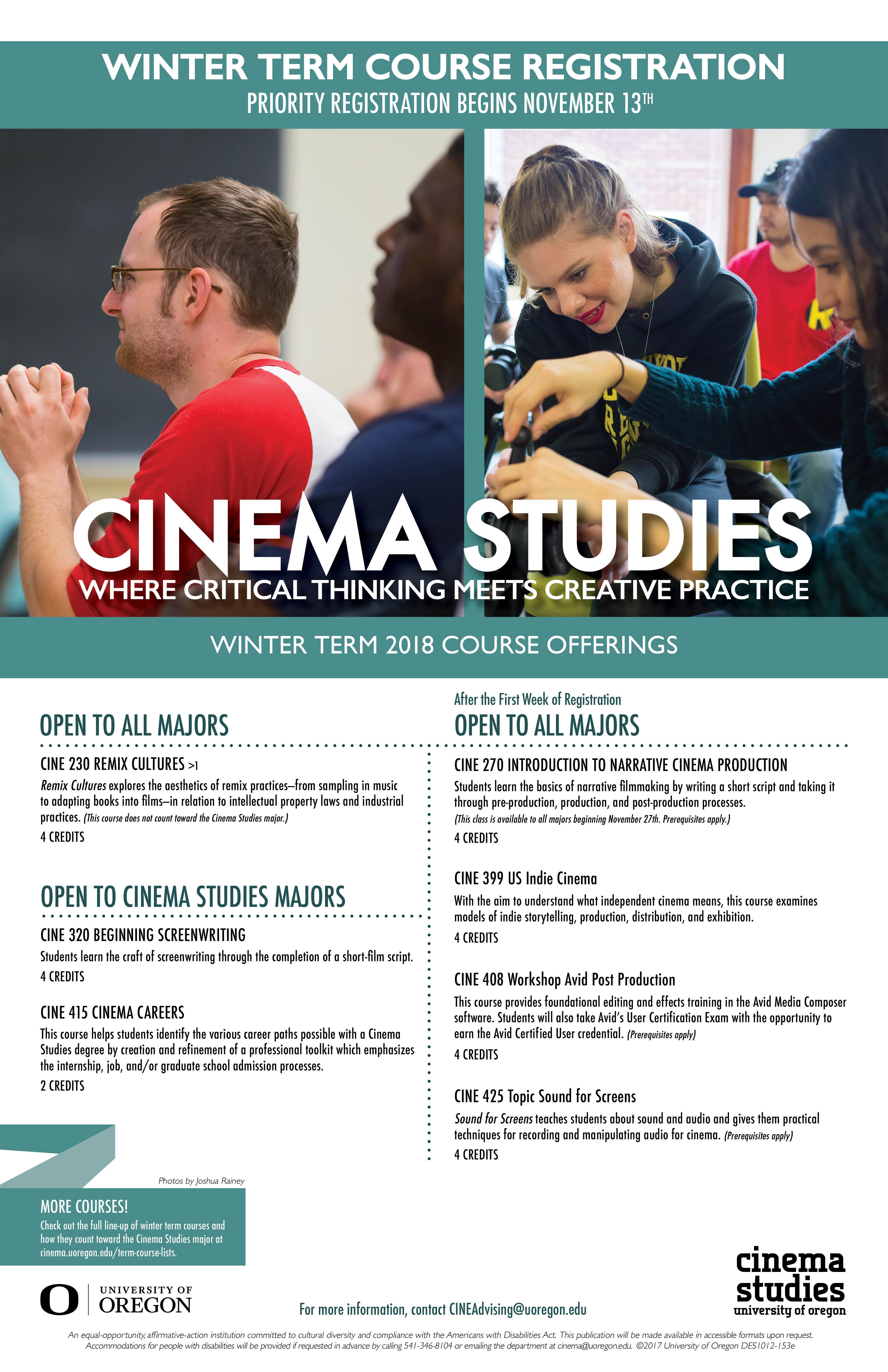 Winter Term 2018 Course List Now Available Cinema Studies