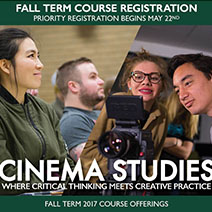 Cinema Studies Fall 2017 Course Poster