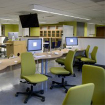 Photo of computers in cinema studies lab