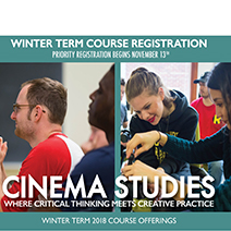 Poster for Cinema Studies Winter Term 2018 Courses