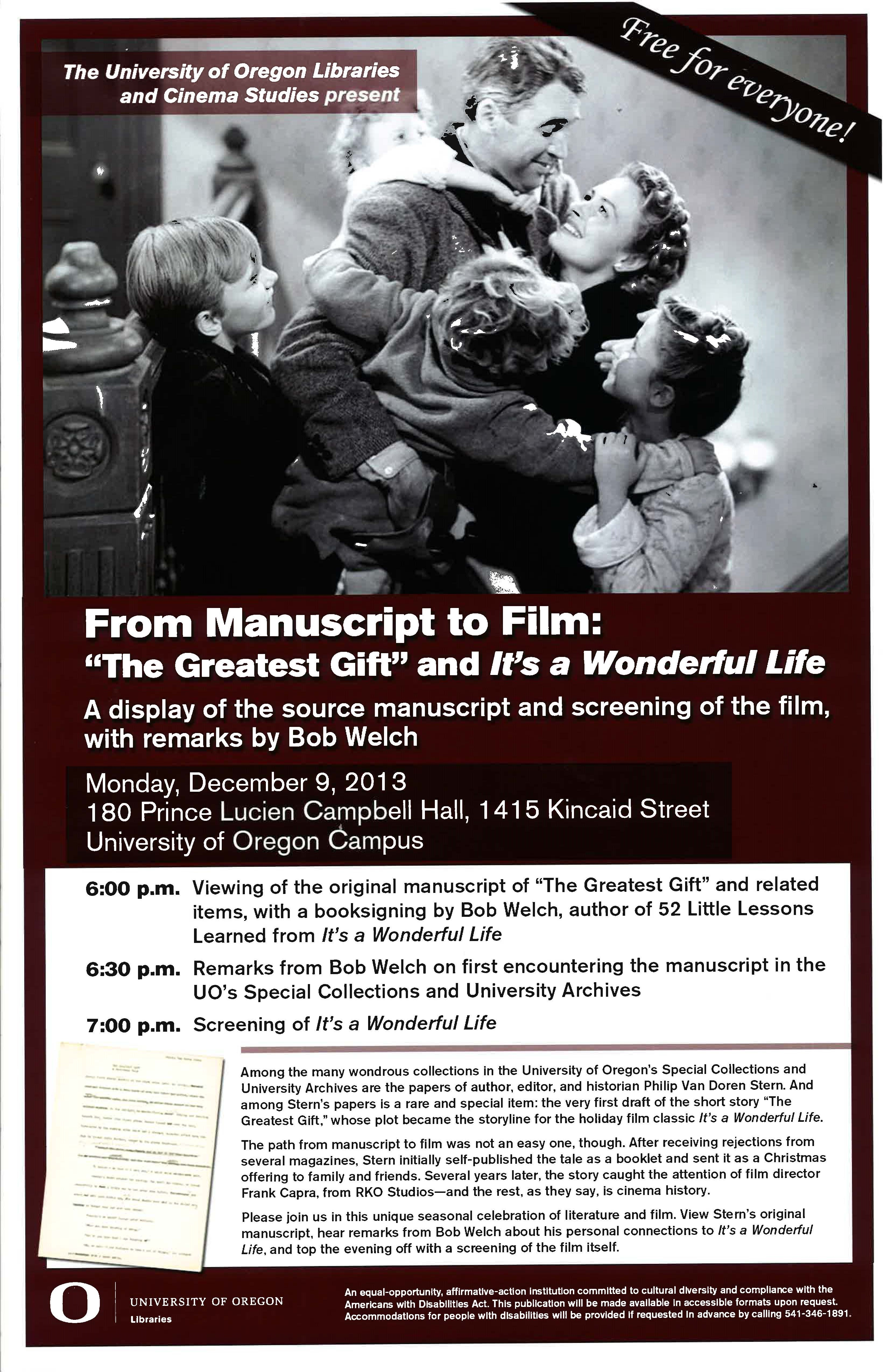 Cancelled From Manuscript To Film The Greatest Gift And It 39 S A Wonderful Life Cinema Studies