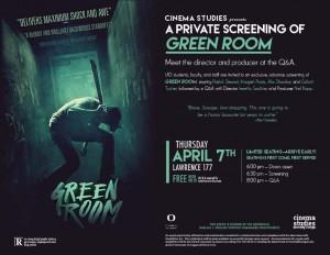 private advance screening of green room cinema studies. Black Bedroom Furniture Sets. Home Design Ideas